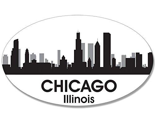 Chicago Sticker (Oval B/W SKYLINE of CHICAGO Sticker (city il)