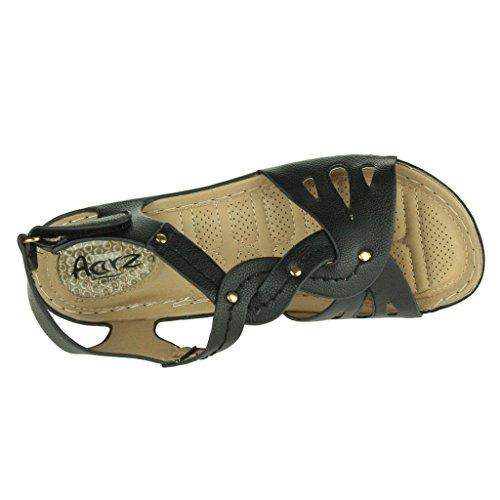 Mujer Señoras Punta abierta Comodidad Cada día Amortiguado Respirable Revestimiento Suave Casual Ponerse Tacón de cuña Sandalias Zapatos Talla Negro