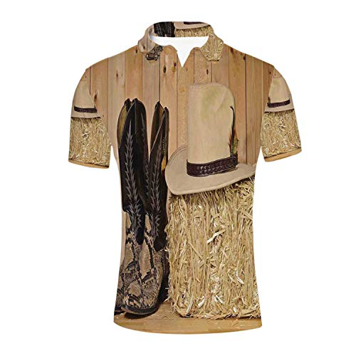 Western Decor Durable Polo Shirt,Snake Skin Cowboy Boots Timber Planks in Barn with Hay Old West Austin Texas for Men,S (Best Cowboy Boots In Austin Texas)