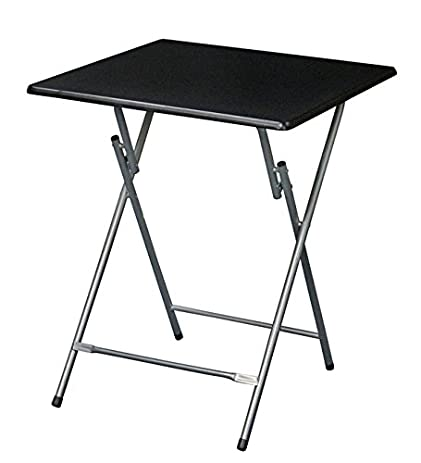 EHemco Extra Large Metal Folding TV Tray/Table   Black Top