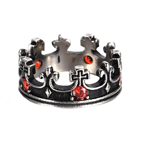 Oakky Men's Women's Stainless Steel Silver Black Plated Retro Royal King Crown Red Gemstone Inlaid Ring Size 13