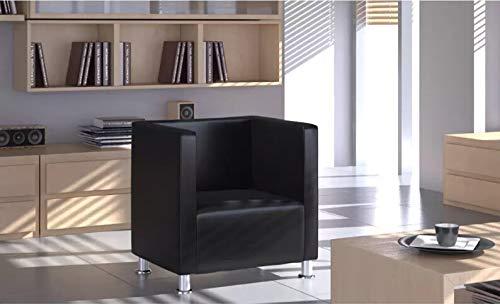 WeGarden Silla Cubo sofá Simple Design Piel sintética Negro ...
