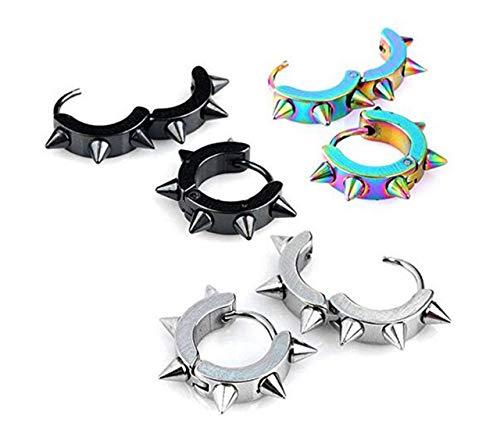 inless Steel Spike Huggie Hoop Earrings Punk Rock Piercings Men Women Jewelry ()