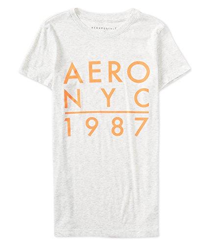 Aeropostale Final Sale - Aero NYC 1987 Graphic Tee XLarge Lightest Heather Grey