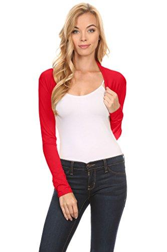 Shrugs Crop, Regular and Plus Size Shrug Jacket, Bolero Shrugs - USA, Red, ()