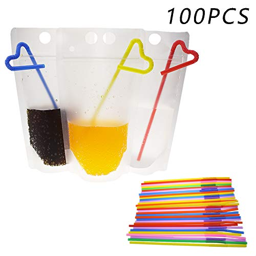 YANN Valentine Drink Bag 100 Pcs Double Zipper Clear Stand-Up Plastic Pouches Hand-Held Translucent Reclosable - 100 Straws -