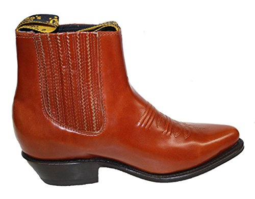 Menn Ekte Okseskinn Kort Ankelen Desgin Cowboy Boots Tan