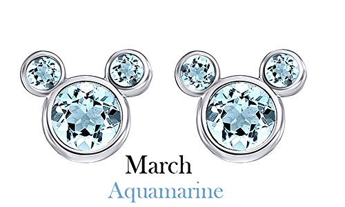 March Birthstone Blue Aquamarine Mickey Mouse Stud Earrings In 14k White Gold Over Sterling - Bezel Aquamarine Stud Earrings
