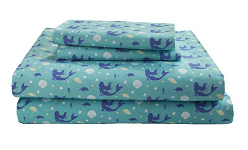 Elite Home Products Kid's/Juvenile 90 GSM Microfiber Soft Printed Sheet Set, Queen, Mermaid