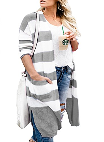 Womens Striped Cardigan Sweaters Long Light Knit Oversized Duster Cardigans with Pockets