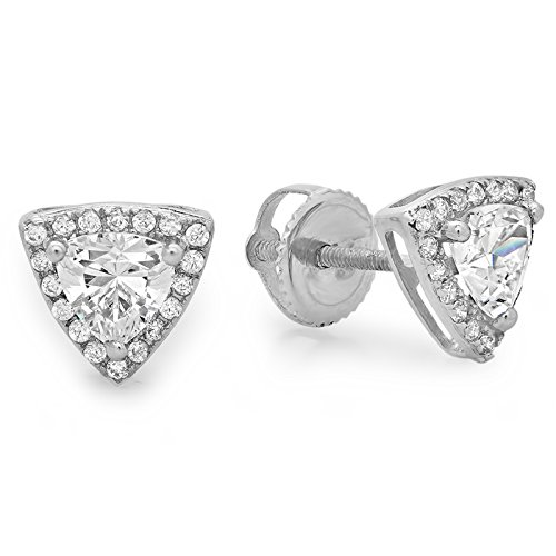 - Clara Pucci 1.45 CT Round and trillion Cut Stud Earrings Pave Halo 14k White Gold Screw Back