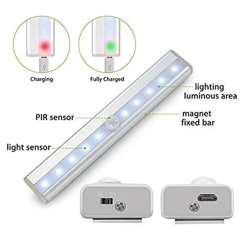 PowerKing USB Rechargeable Magnetic Motion Sensor Light, 10 LED Cordless Closet LightingBattery Powered Night Light with Strip use for Wardrobe Stairs Basement Kitchen(Silver Aluminium,3 Pack) by PowerKing (Image #4)