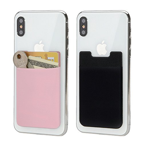 BAIMAHUI Card Holder Back of Phone Stretchy Ultra Slim 3M Adhesive Lycra Card Sleeve Stick on Credit Card Wallet Phone Case Pouch Sleeve Pocket for Most Smart Phones 2 Pack (Black Pink)