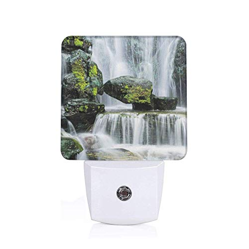 Majestic Waterfall Blocked Led Night Lights, 2PCs Auto Sensor Dusk to Dawn Plug in Night Lights for Kids Baby Girls Boys Adults for Nursery Bathroom Bedroom Hallways Kitchen - Bath Majestic Fixture