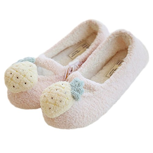 Fortuning's JDS Women Ladies Girls Fruit pattern Velvet Cozy House Footwear Comfy Wrap Flatform Slippers Pink pineapple aygK14od