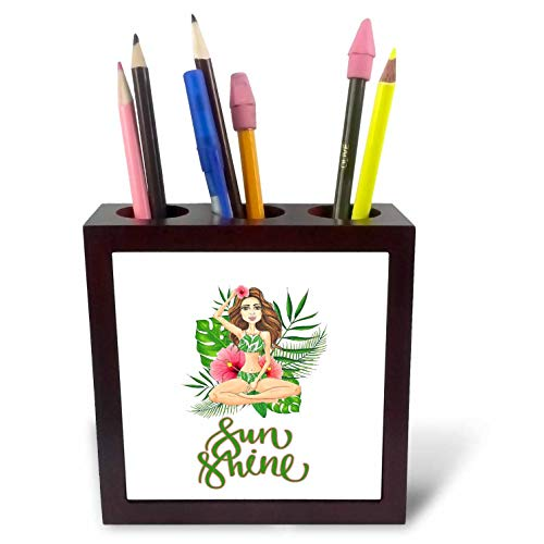 3dRose Uta Naumann Sayings and Typography - Summer Aloha Flower Hula Girl Illustration and Typography - Sunshine - 5 inch Tile Pen Holder (ph_290096_1)