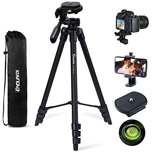 Endurax 60'' Camera Phone Tripod Stand for DSLR Canon Nikon with Universal Phone Mount, Bubble Level and Carry Bag