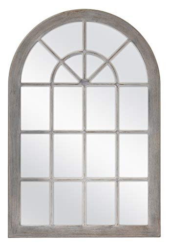 MCS Countryside Arched Windowpane Wall, Gray, 24x36 Inch Overall Size -