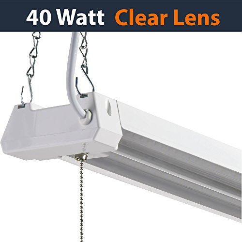 Spanish Ceiling Lighting - LED 4ft Utility Shop Light-40W, 5000K, Linkable, Clear Lens, 4500LM, Replaces 4 Foot Fluorescent, Garage Shoplight Ceiling Fixture, Pull Cord Chain, Plug In