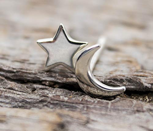 Moon and Star Stud Earrings, Celestial Jewelry, Crescent Moon Post Earrings, Moon and Star Jewelry