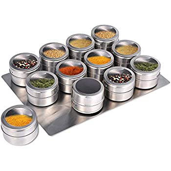 Upgrade Magnetic Spice Jars 12pcs with Wall Mounted,Stainless Steel Spice Tins with Glass Lid and Small Holes for Sprinkle Rust Free Easy to Clean Includes 94 Labelling Stickers by Beeyoka