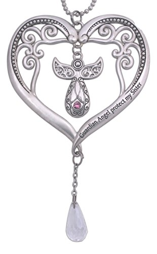 4.5'' Silver Tone Heart with Guardian Angel Car Charm (Pink