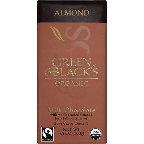 (Green & Black's Organic Milk Chocolate with Almonds, 37% Cacao, 3.5 Ounce Bars (Pack of 10))