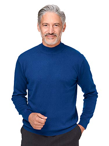 Paul Fredrick Men's Silk, Cotton \ Cashmere Mock Neck Sweater Blue Large