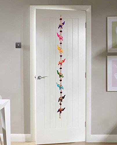 (Door Hanging Decorative Cotton Elephants in Vibrant Color Stringed with Beads and Brass Bell by Super India)