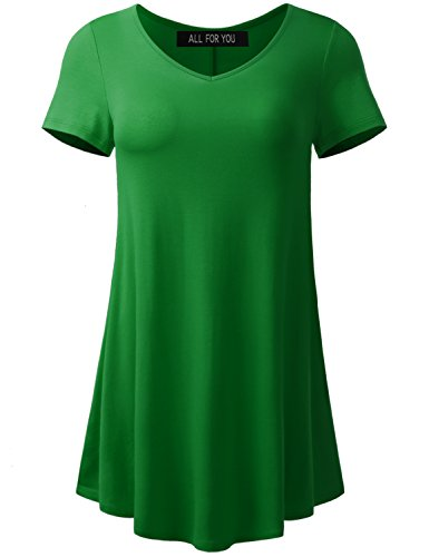 A.F.Y All For You Women's Short Sleeve V-Neck Flare Tunic Kelly Green XX-Large