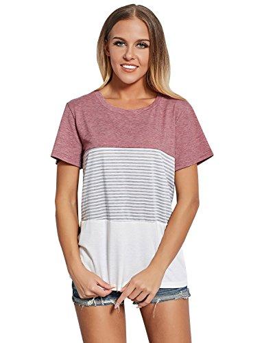 ZXZY Women Short Sleeve Round Neck Triple Threat Color Block Top Stripe Tee