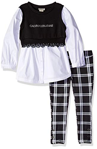 - Calvin Klein Girls' Toddler 2 Pieces Tunic Legging Set, Obsidian/White, 3T