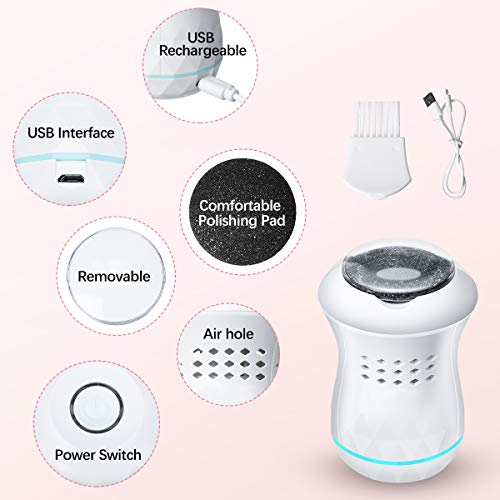 Electric Callus Remover for Feet, Electronic Foot File, Liaboe Foot Callus Remover, Professional Pedicure Tools, Portable Electric Foot Grinder Care Tool for Foot Care of Dead Skin Cracks(White)
