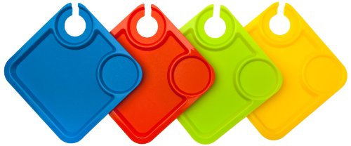DCI Party Plates with Built-In Stemware Holder, Set of 4