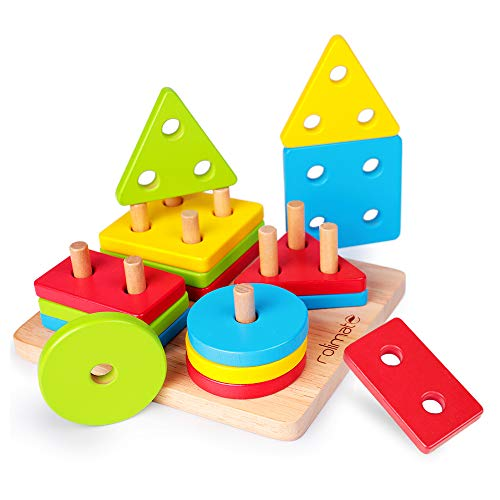 rolimate Shape Sorter Wooden Educational Developmental Toy Shape Color Sorting Recognition Geometric Board Block Stack Sort Chunky Puzzle Toys, Baby & Toddler Toy for Age 1-5 Years Old Non-Toxic Gift