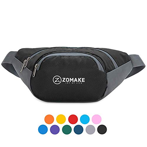 ZOMAKE Fanny Pack Water Resistant Waist Bag Hip Bum Bag for Men and Women, Large Compartment with Adjustable Strap for Outdoors Workout Traveling Casual Running Hiking Cycling(Black)