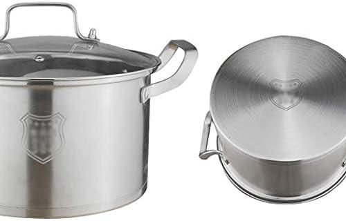 S-TING 鍋 ケータリングポット+ふた、Stockpot、野菜鍋、蓋付きの大型ステンレス鋼の鍋、強化ガラスカバー、コンポジット底部24センチ4.9L 不沾鍋 鍋子 萬用鍋 炒め鍋 フライパン
