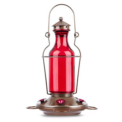 BOLITE 18004 Hummingbird Feeder, Vintage Red Wine Bottle Hummingbird Feeders for Outdoors, 20 Ounces