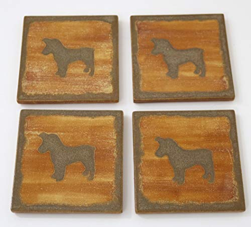 Jack Russell Dog Coasters Square Set of 4 Silhouette Ceramic Tile Handmade