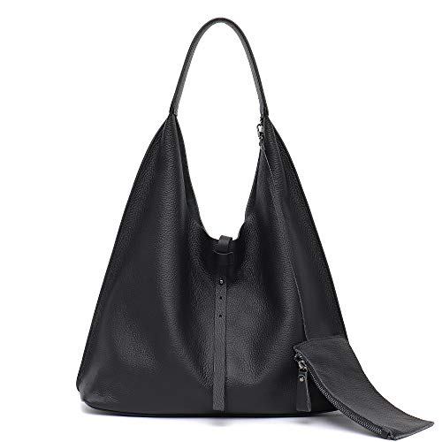 76a190ca4ac STEPHIECATH Women Genuine Cow Leather Shoulder Bag Slouchy Stirng Hobo  Casual Soft Tote Ladies Vintage Leather Bag