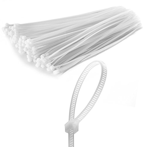 Flexzion Zip Tie Cable Wire Wrap 100 pcs 8 Inch Self Locking Heat UV Resistant Bulk Industrial Plastic Nylon Fasten Strap UL Listed for Organizing Wires, Home & Office Use (White) (Wide Listed Body Ul)
