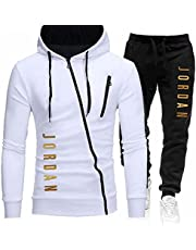 MENGX Track Suits for Men Sets,Men's Jordan Hoodie and Jogging Pants,Polyester Fiber,Quick-Drying and Breathable,S-3xl