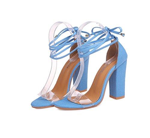 Huecos De sandalias Boda Con Tacones Fiesta Y Cielo Confort Liangxie Redonda Transparente Zhhzz Puro Azul Vendaje Mujer Serie Clásica color Punta Zapatos Formal Sexy qp7xa5