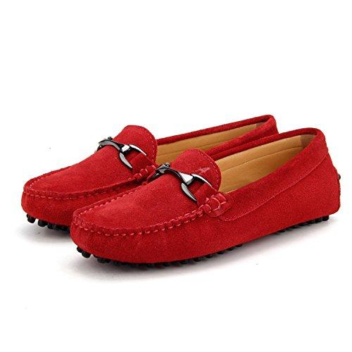Shenduo Zapatos Primavera - Mocasines de cuero con suela goma cómodos para mujer D7062 Rojo