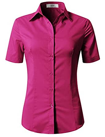 EZEN Women's Plus Size Where to Buy Business Professional Attire DEEP Pink Small