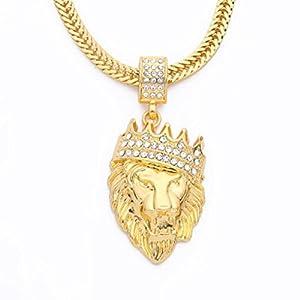LLguz Mens Fashion Jewelry Rhinestone Lion Tag Pendant Cuban Chain Hip Hop Necklace Pendants