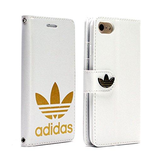 シチリア我慢する幽霊手帳型 adidas アディダス iPhone7 iPhone8 (4.7inch) ホワイト 金ロゴ レザーケース スマホケース ケータイカバー