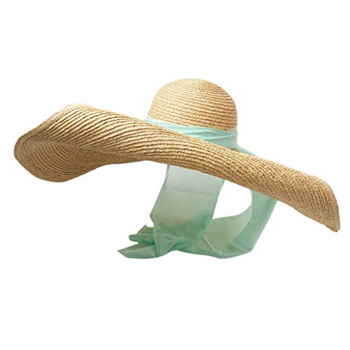 JJLIKER Womens Sun Straw Hat Oversized Wide Brim Summer Hat Foldable Roll up Floppy Beach Hats Cap Packable for Travel Green