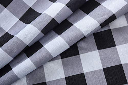 Biscaynebay Textured Fabric Shower Curtains, Printed Checkered Bathroom Curtains, Black and Grey 72 by 72 Inches - Printed polyester fabric is special woven, textured with slubs. Lights can get through partly, providing romantic atmosphere. 100% superior quality and Eco-friendly polyester, long life use. Suitable for families and upscale hotels. Made of 125gsm durable premium polyester fabric. - shower-curtains, bathroom-linens, bathroom - 41Au%2BXxiv4L -