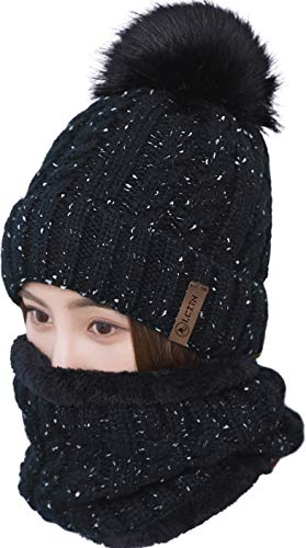 - LCZTN Womens Pom Beanie Hat Scarf Set Girls Cute Winter Ski Hat Slouchy Knit Skull Cap with Fleece Lined